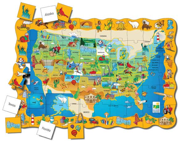 Puzzle Doubles Find It! USA Educational Floor Puzzle