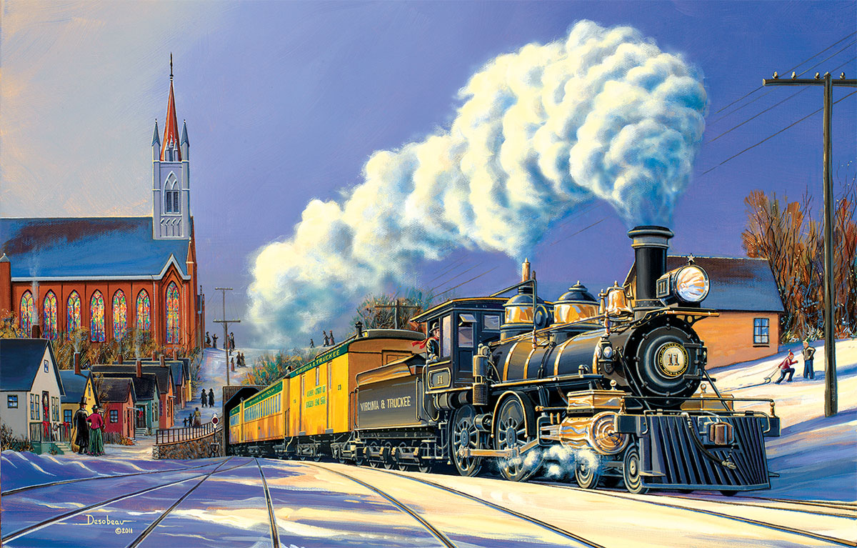 Winter Arrival Trains Jigsaw Puzzle