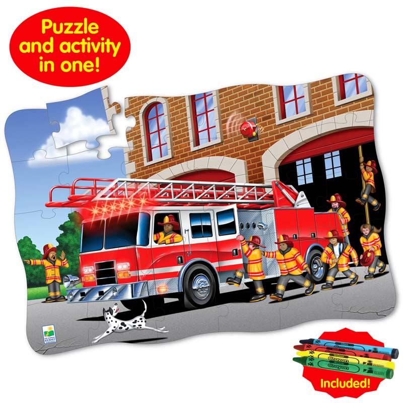 Puzzle Doubles Giant Fire Rescue Vehicles Floor Puzzle