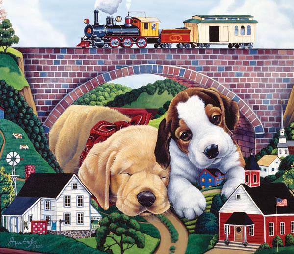 Choo Choo Choo-ed Dogs Jigsaw Puzzle