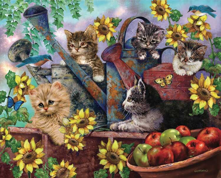Sunflower Kittens Cats Jigsaw Puzzle
