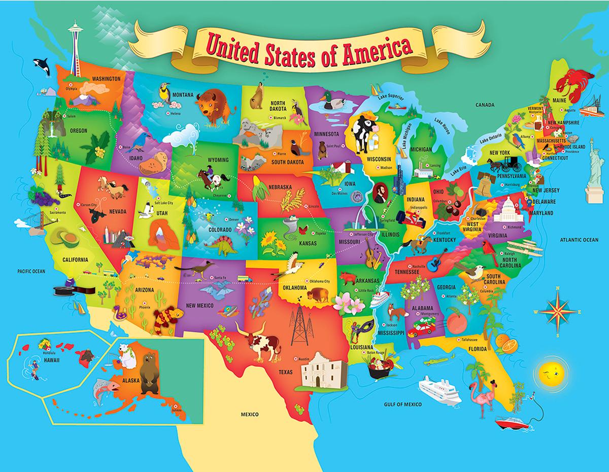 USA Map Educational Jigsaw Puzzle