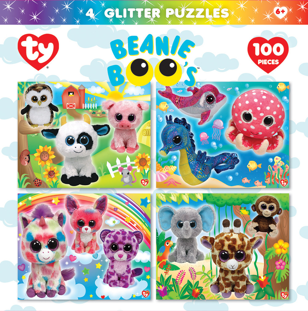 Beanie Boo Glitter 4-pack - Scratch and Dent Farm Animals Glitter / Shimmer / Foil Puzzles