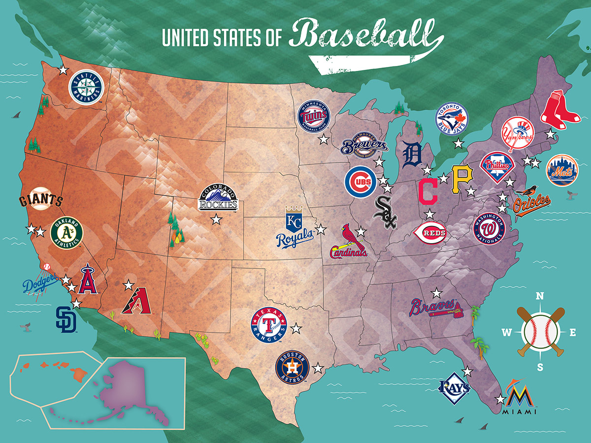 MLB USA Map - Scratch and Dent Graphics / Illustration Jigsaw Puzzle