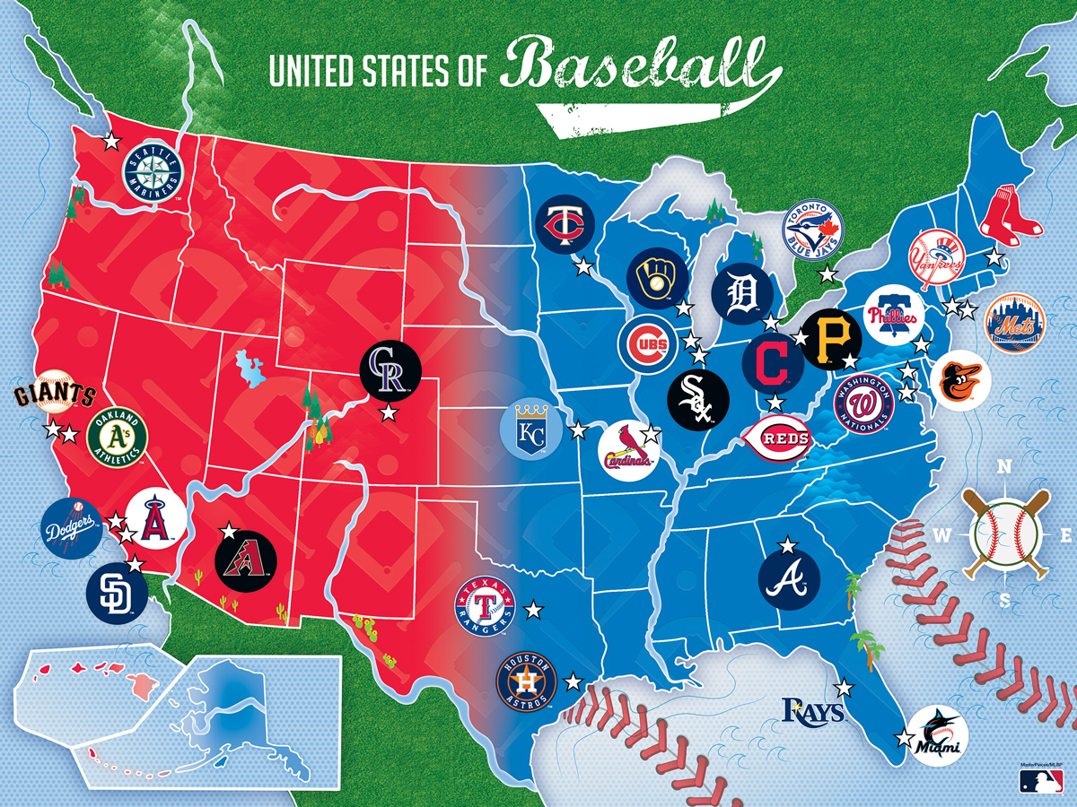MLB League Baseball Map Sports Jigsaw Puzzle
