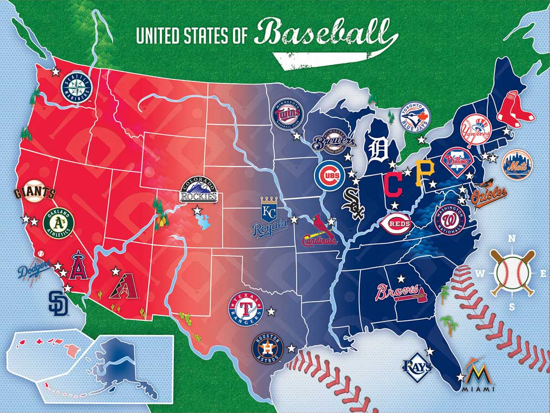MLB USA Map Graphics / Illustration Jigsaw Puzzle