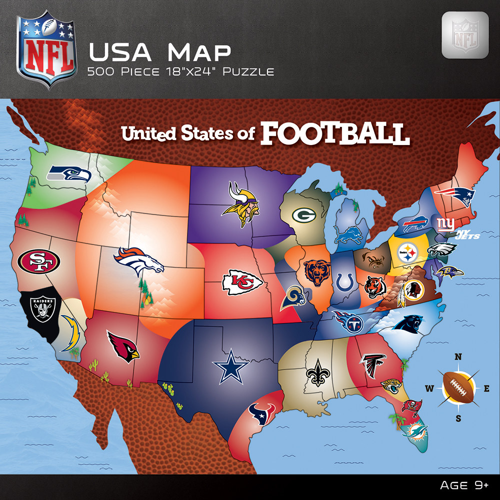 NFL USA Map Jigsaw Puzzle | PuzzleWarehouse.com