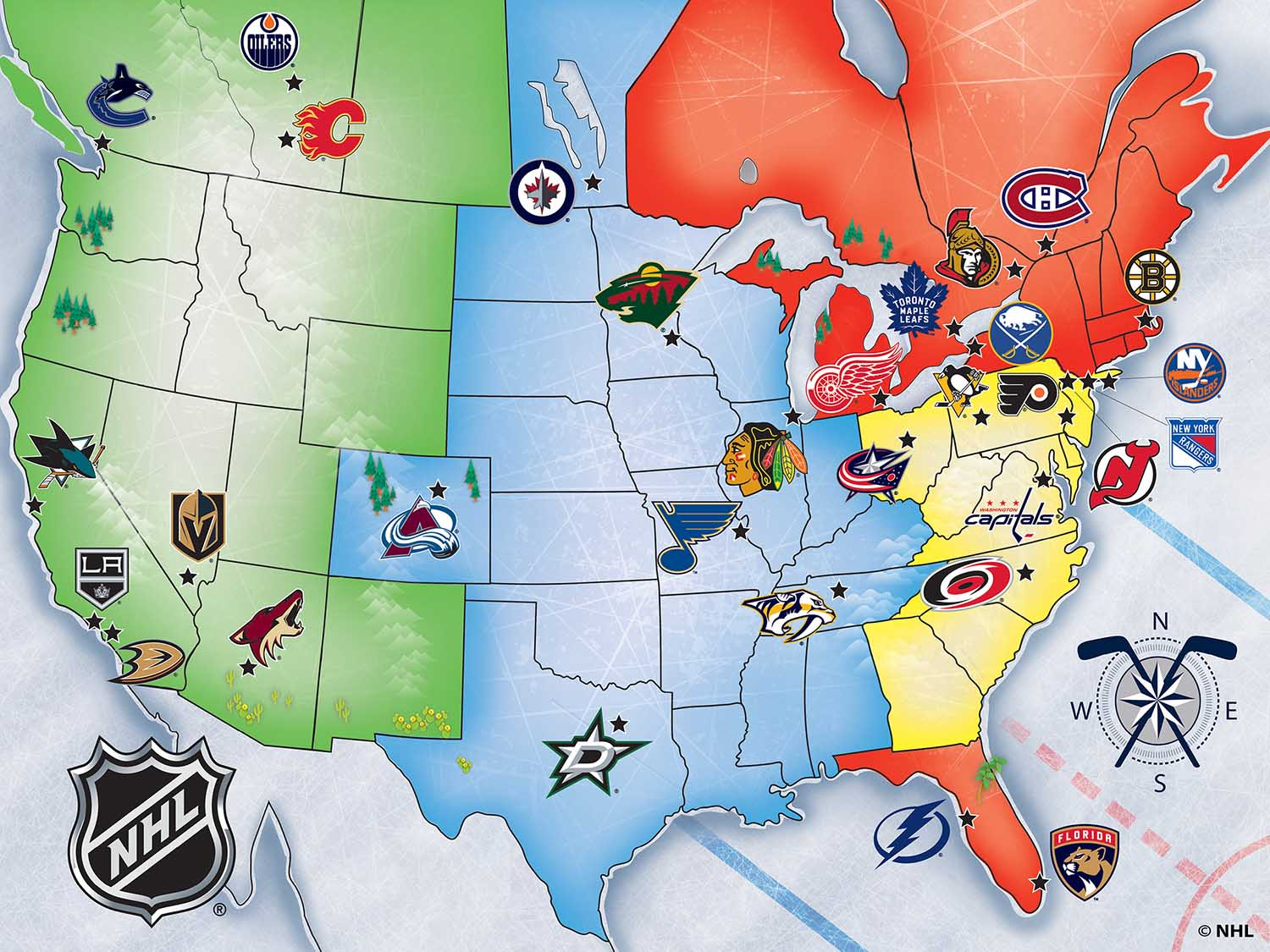 NHL USA Map Sports Jigsaw Puzzle