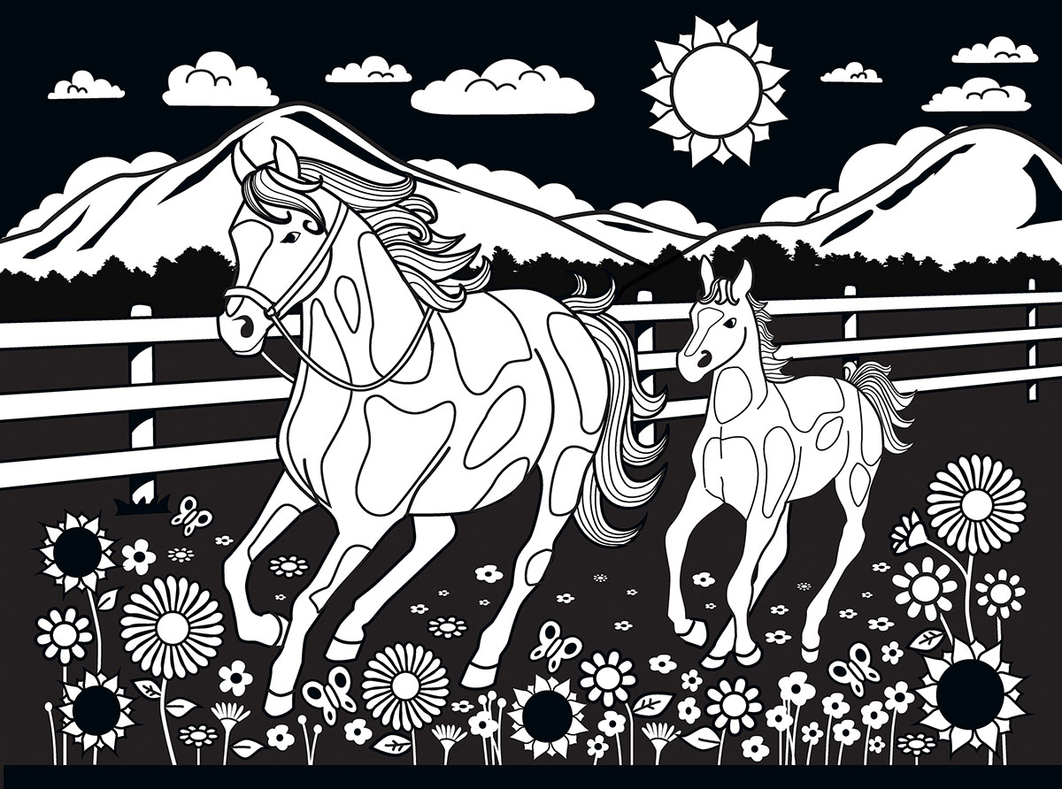 Horse and Pony Velvet Coloring Jigsaw Puzzle | PuzzleWarehouse.com