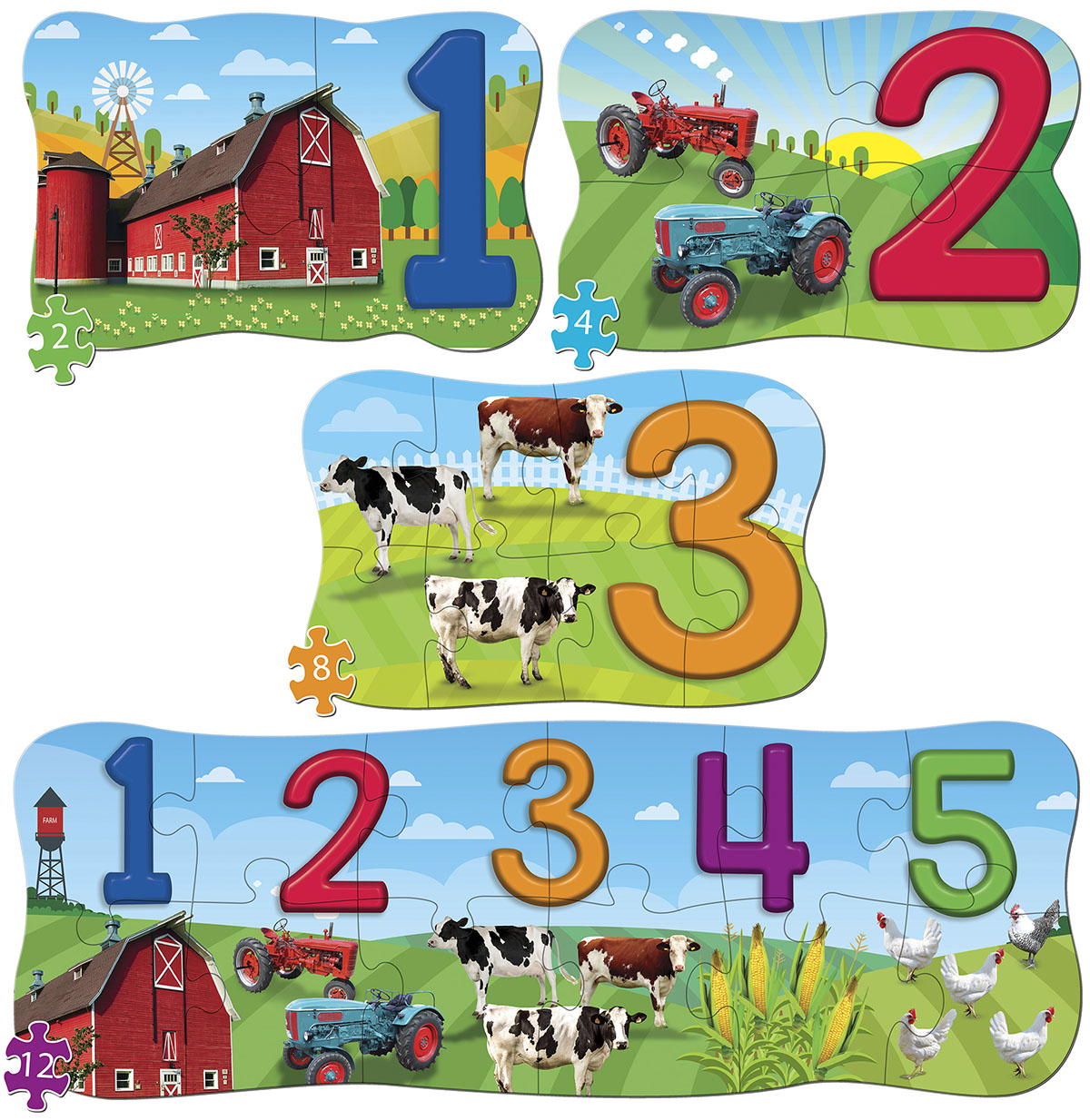 123 on the Farm 4 Pack Puzzle Farm Jigsaw Puzzle