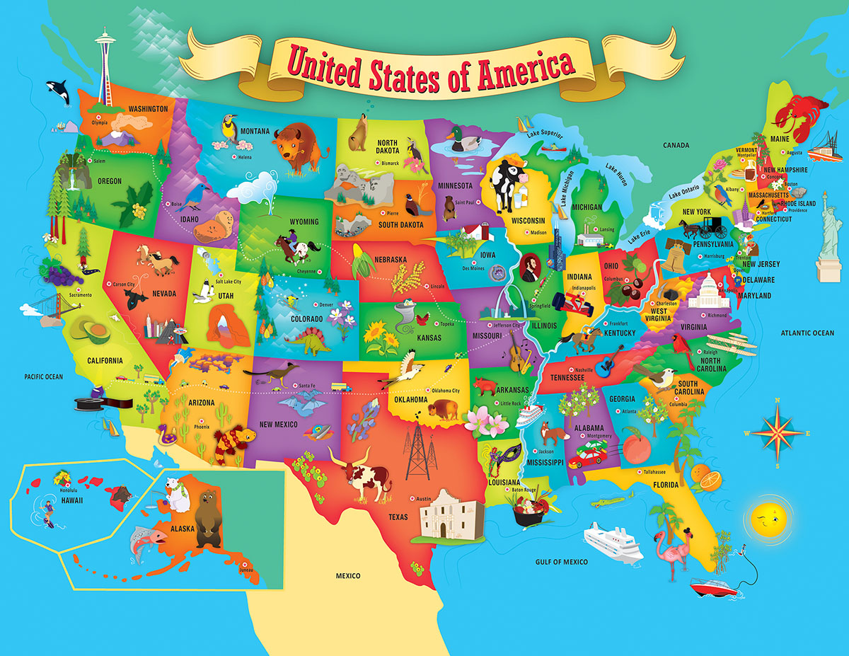 USA Map State Shaped Educational Shaped Puzzle