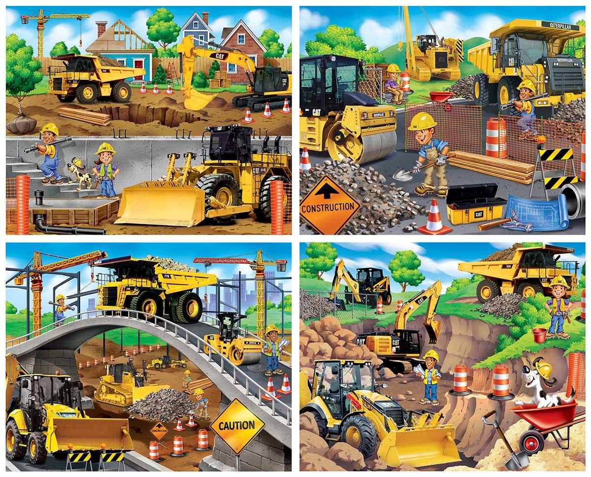 Caterpillar - 4-pack Construction Jigsaw Puzzle