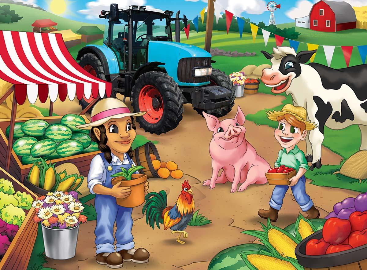 Market Day Farm Animals Jigsaw Puzzle