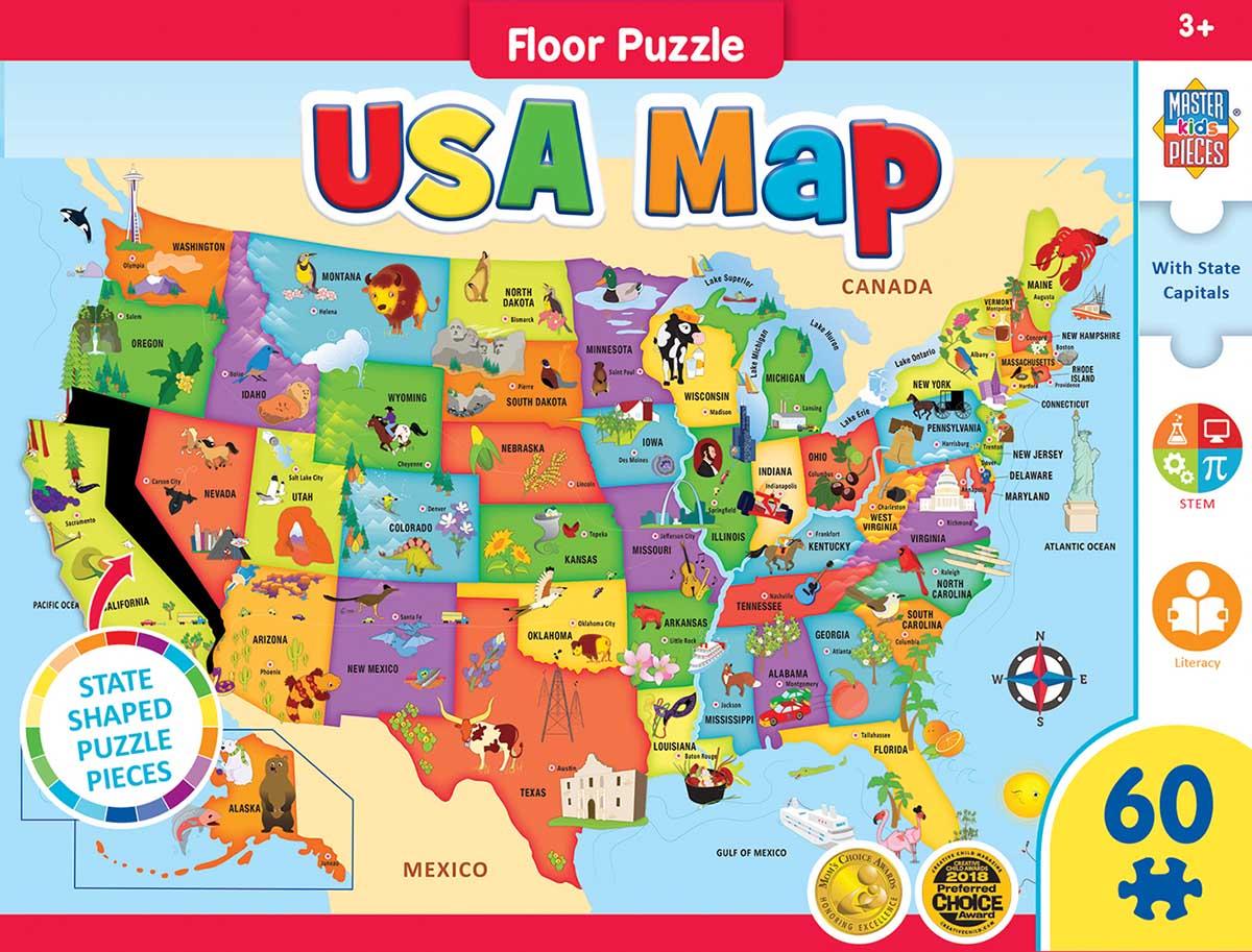 USA Map Educational Shaped Puzzle