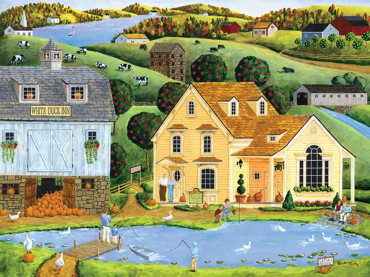 White Duck Inn Americana & Folk Art Jigsaw Puzzle