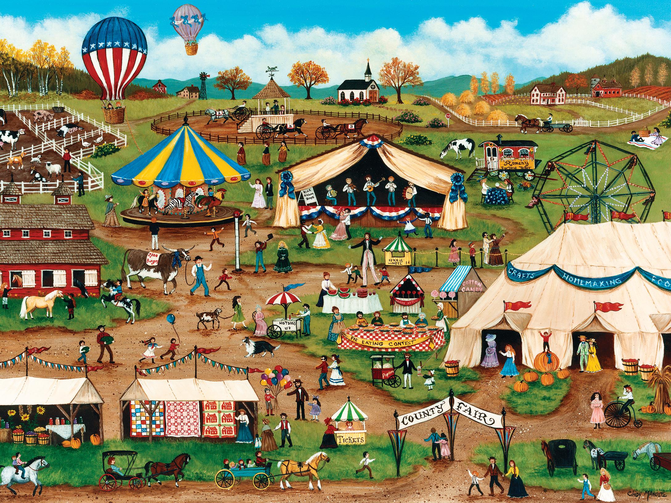 Country Fair (Homegrown) Americana & Folk Art Jigsaw Puzzle