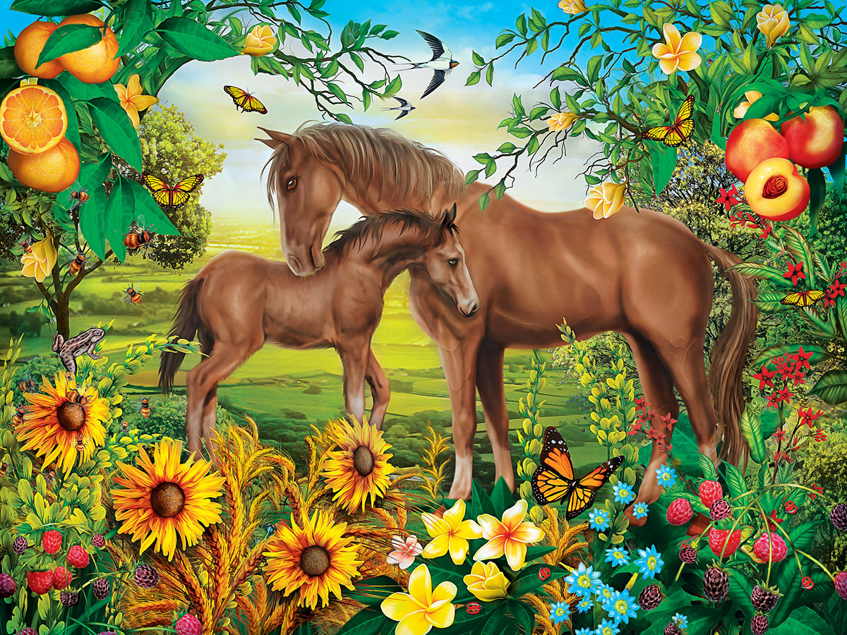 Green Acres (Neighs & Nuzzles) Horses Jigsaw Puzzle