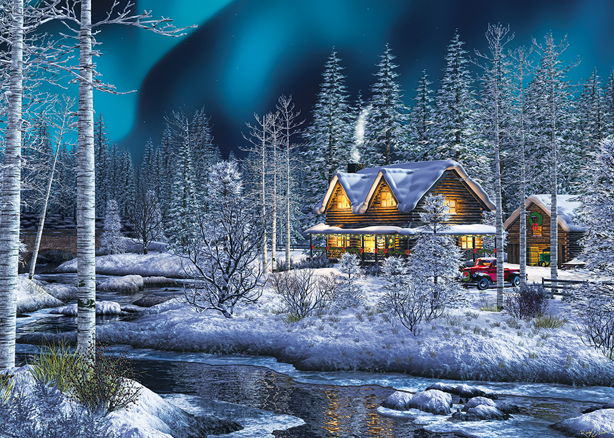 Northern Lights Winter Glitter / Shimmer / Foil Puzzles
