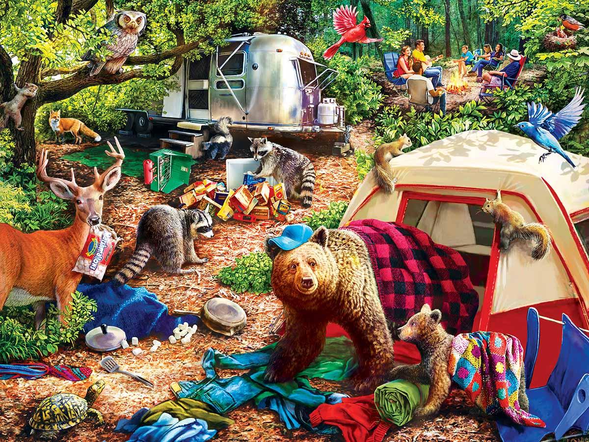Campsite Trouble Animals Jigsaw Puzzle
