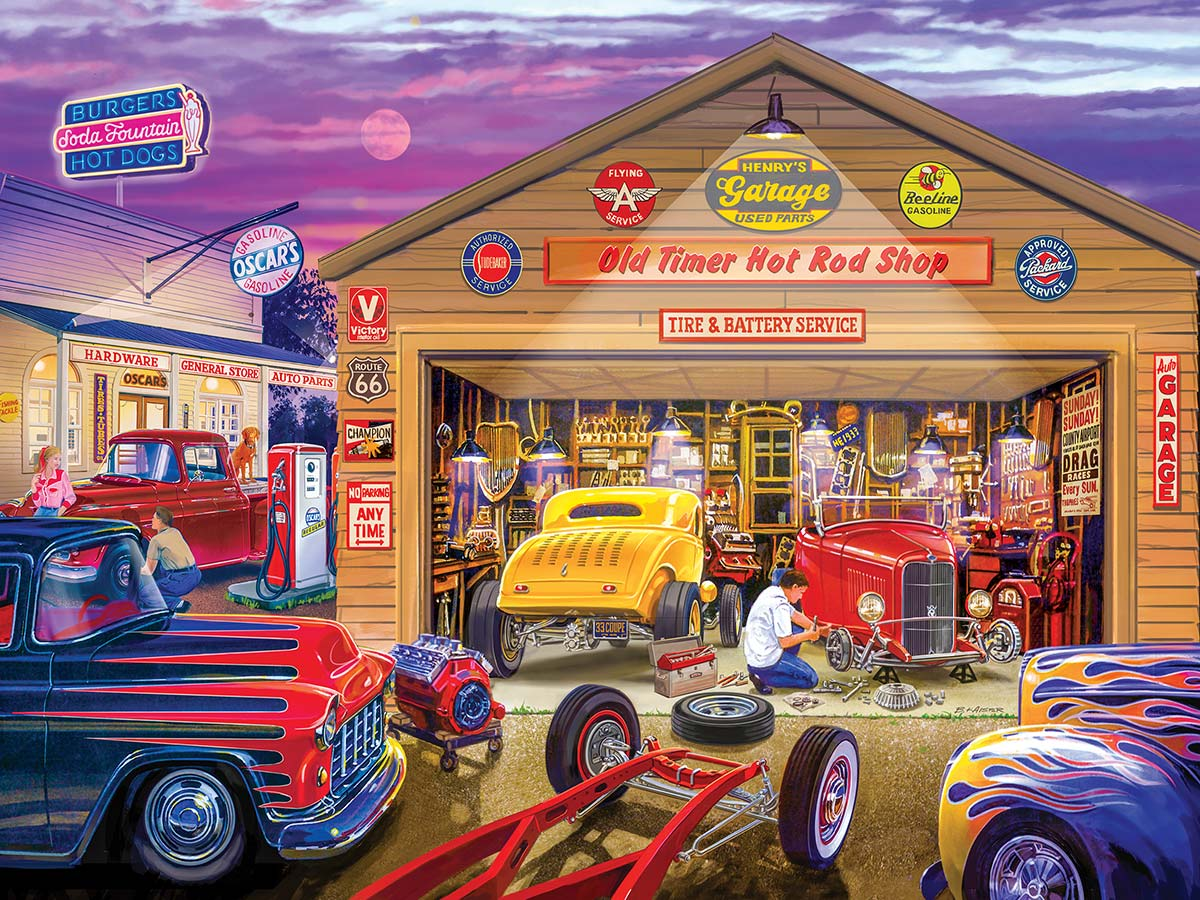 Old Timer's Hot Rods Vehicles Jigsaw Puzzle