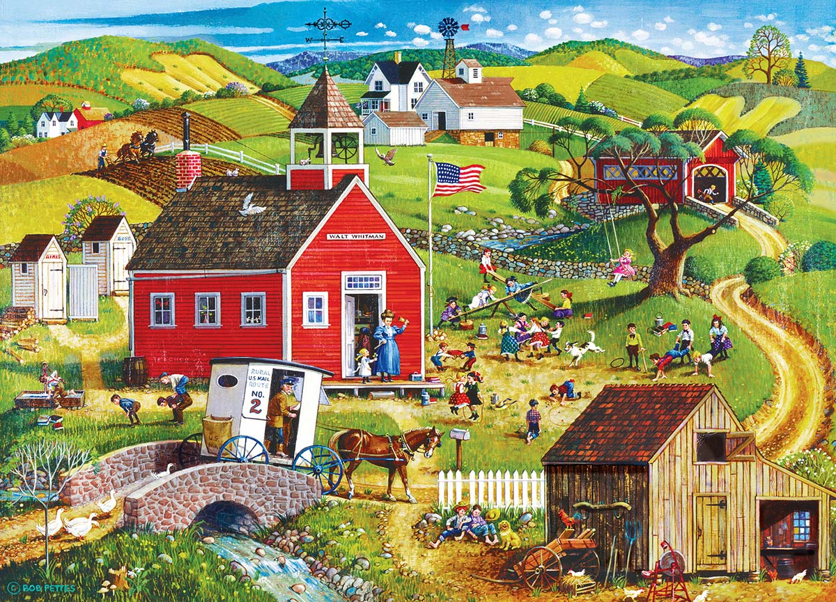 School Days Americana & Folk Art Jigsaw Puzzle