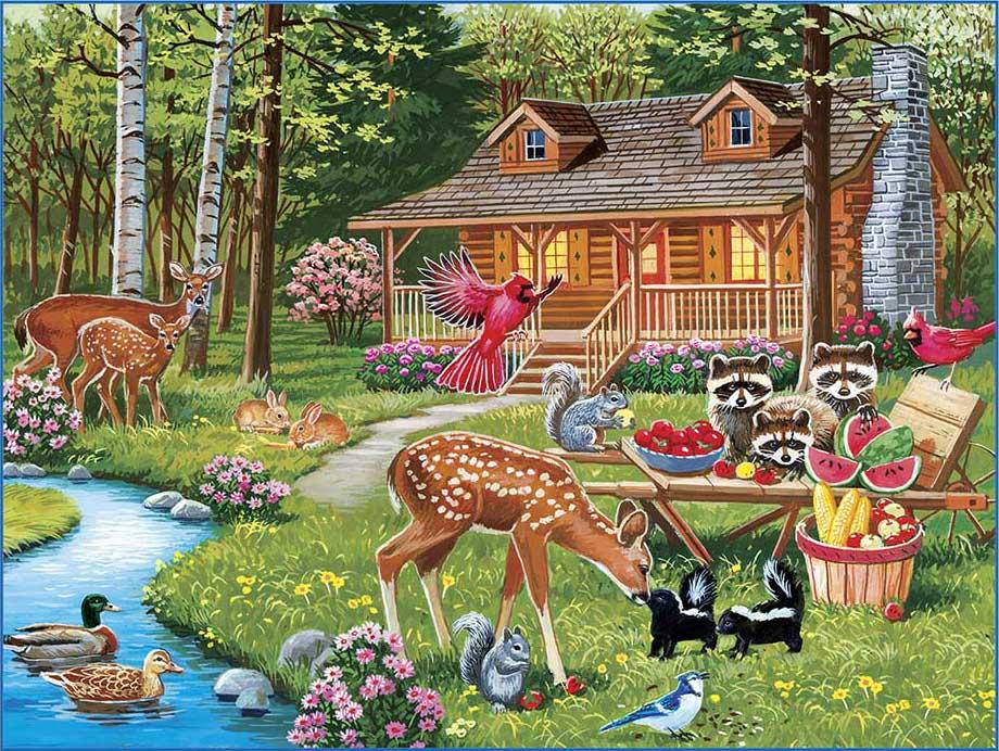 Creekside Gathering Animals Jigsaw Puzzle