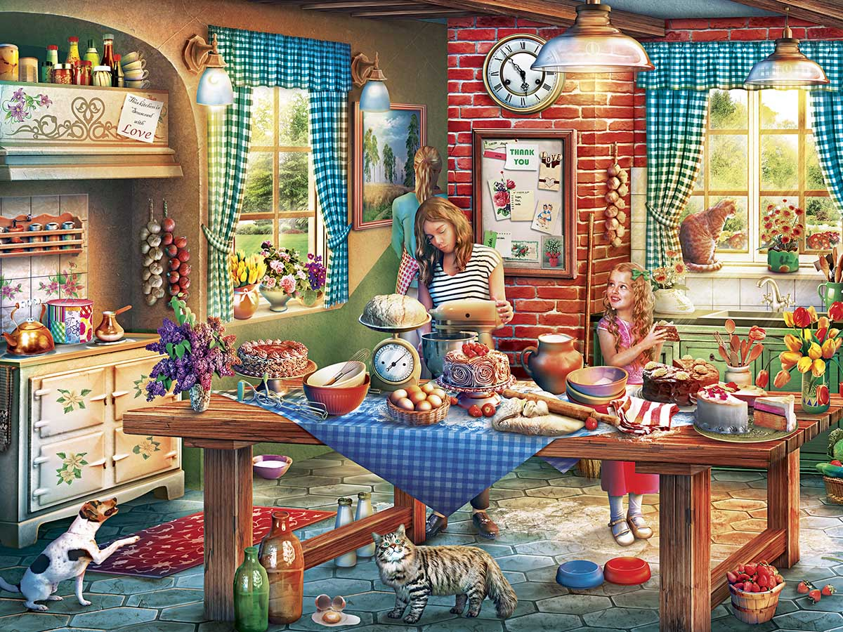 Baking Bread Domestic Scene Jigsaw Puzzle