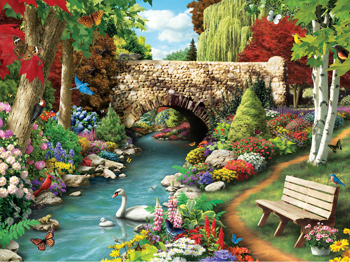 Willow Whispers Garden Jigsaw Puzzle