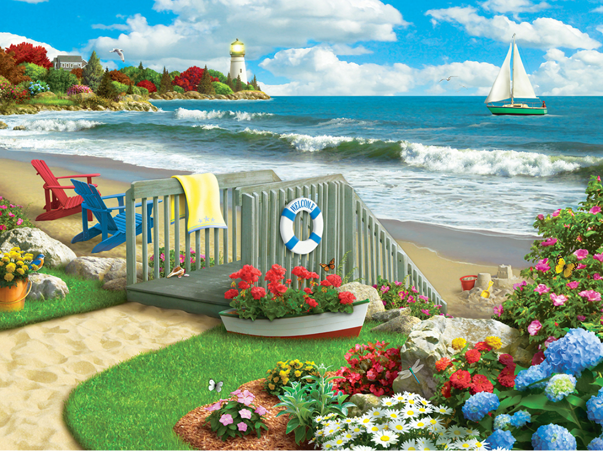 Coastal Getaway - Scratch and Dent Lighthouses Jigsaw Puzzle