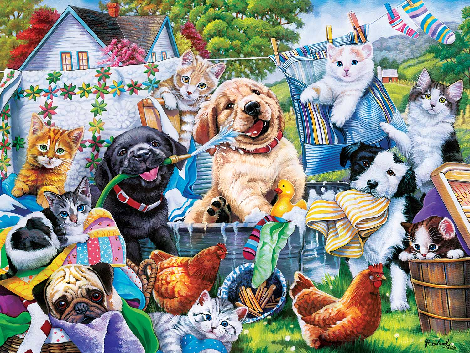 Washing Time Cats Jigsaw Puzzle
