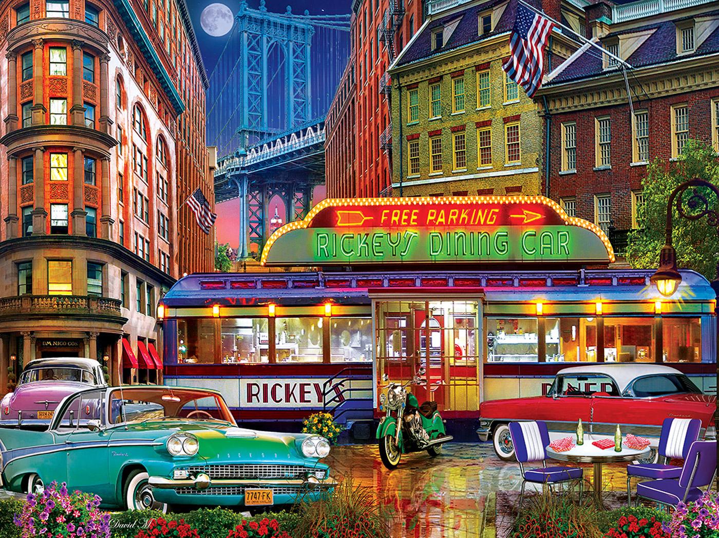 Rickey's Diner Car Street Scene Jigsaw Puzzle