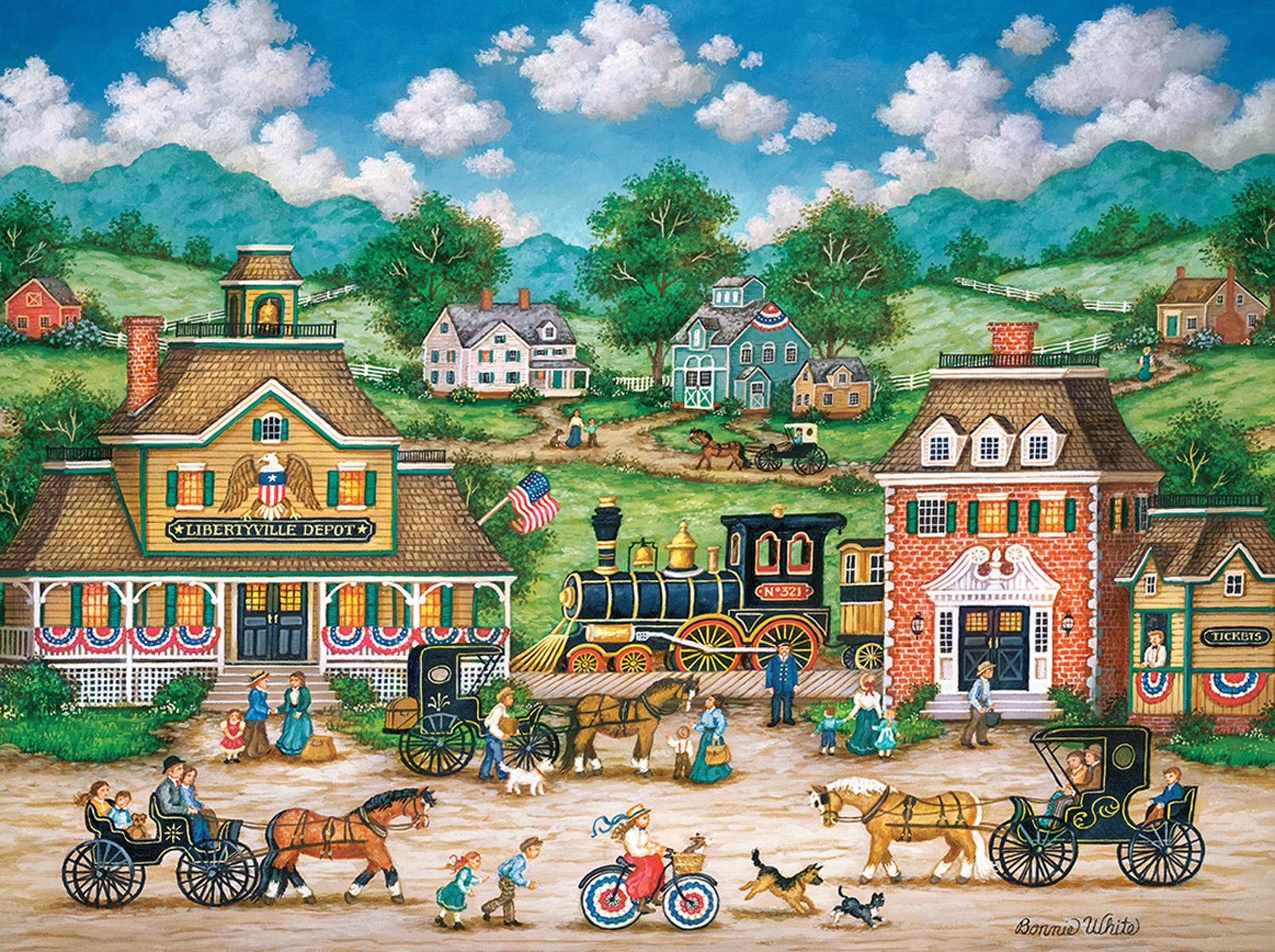 Libertyville Depot Patriotic Jigsaw Puzzle