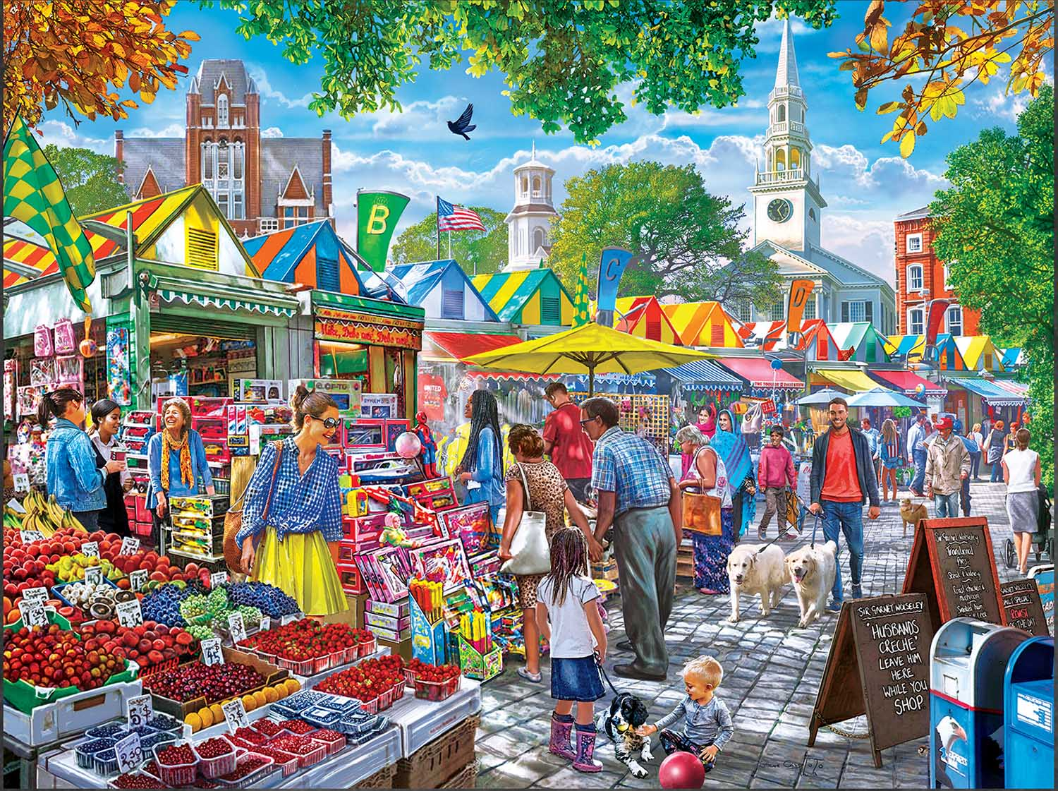 Market Day Afternoon Street Scene Jigsaw Puzzle