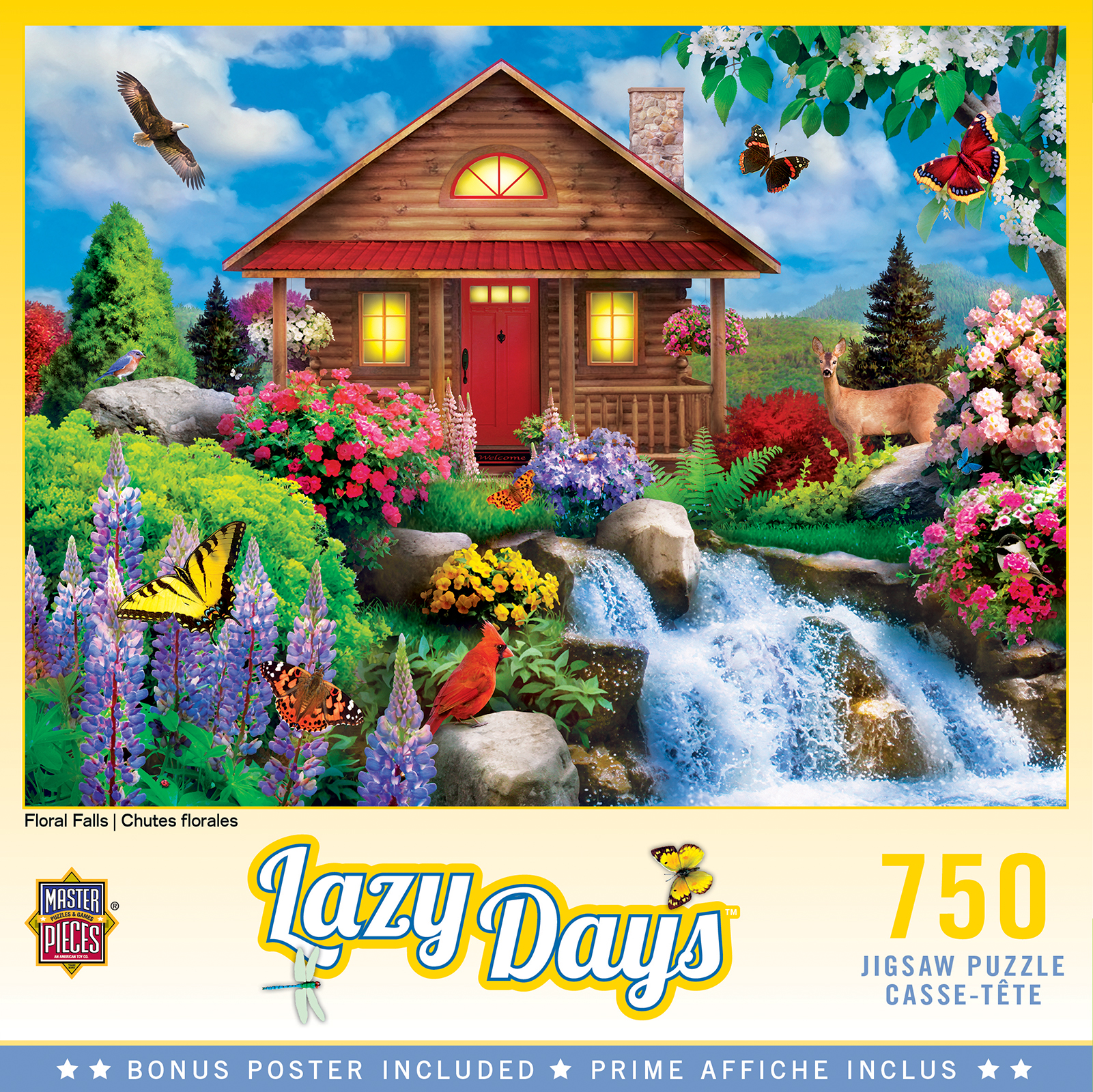 Floral Falls Cottage / Cabin Jigsaw Puzzle