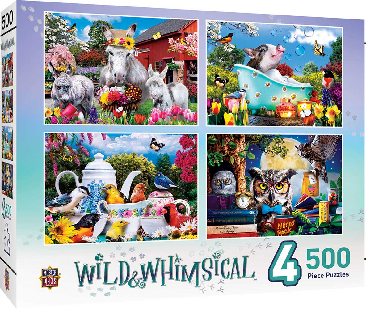 Wild & Whimsical - 4-Pack Animals Jigsaw Puzzle