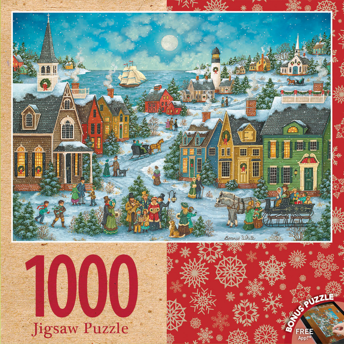 Harbor Side Carolers Lighthouses Jigsaw Puzzle