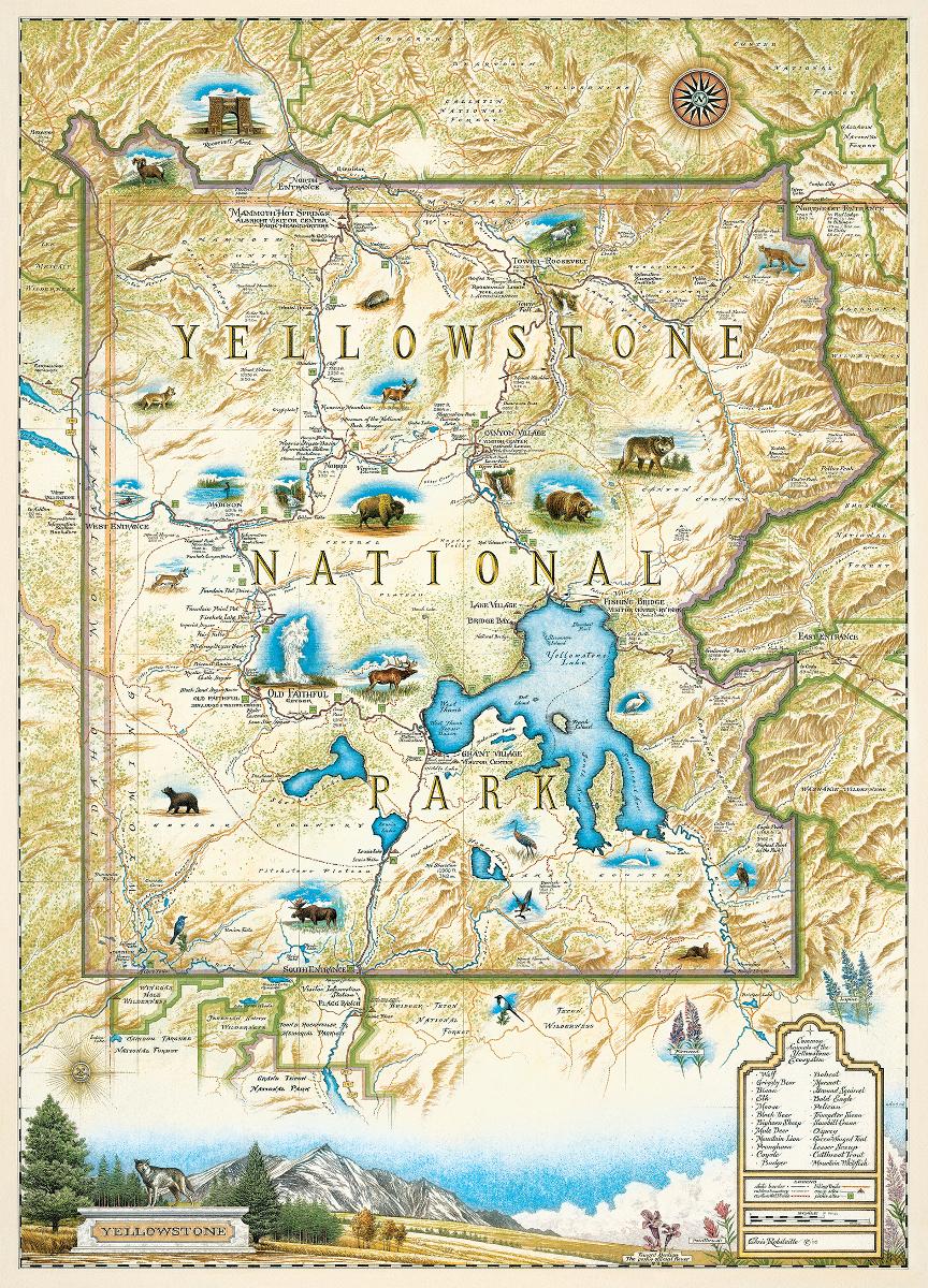 Yellowstone National Park (Xplorer Maps) Maps / Geography Jigsaw Puzzle