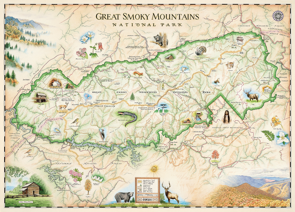 Great Smoky Mountains National Park Map Great Smoky Mountains National Park (Xplorer Maps) Jigsaw Puzzle  Great Smoky Mountains National Park Map