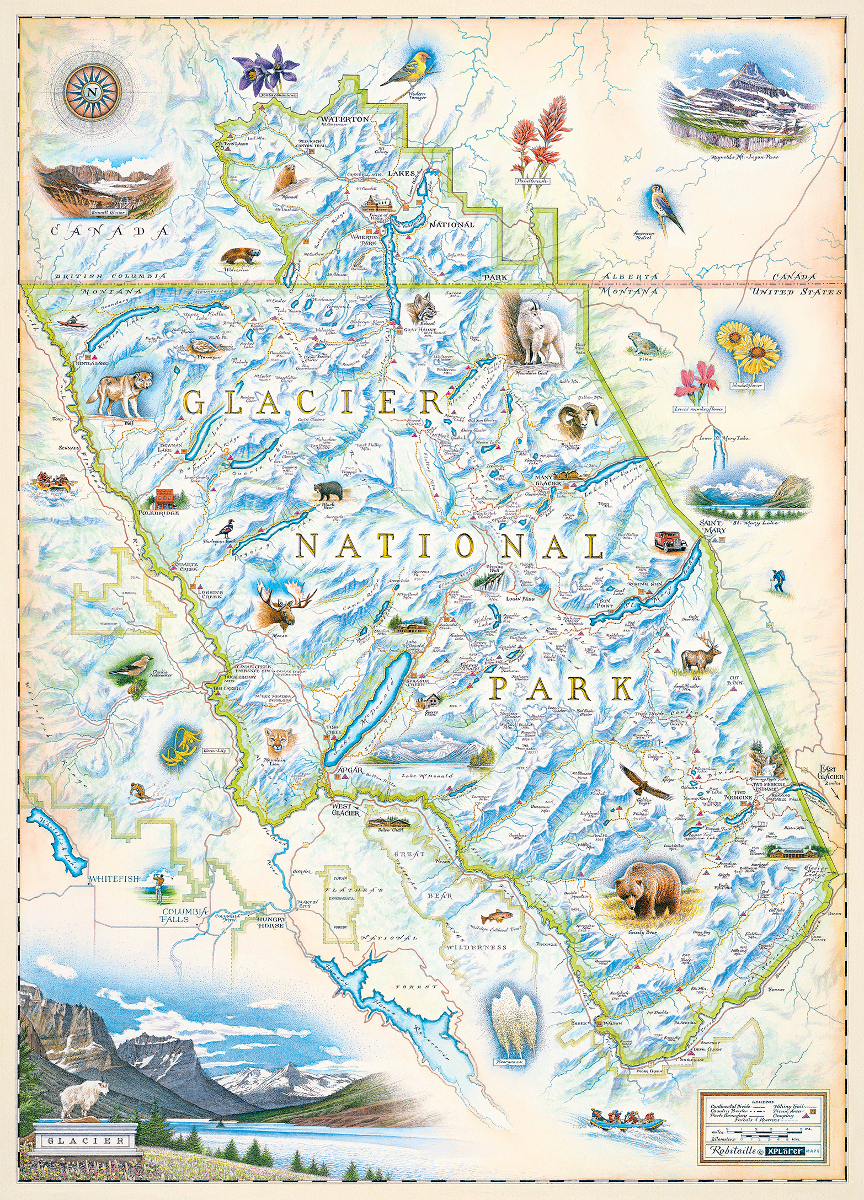 Glacier National Park Graphics / Illustration Jigsaw Puzzle