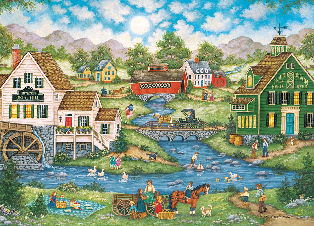 Millside Picnic - Scratch and Dent Americana & Folk Art Jigsaw Puzzle