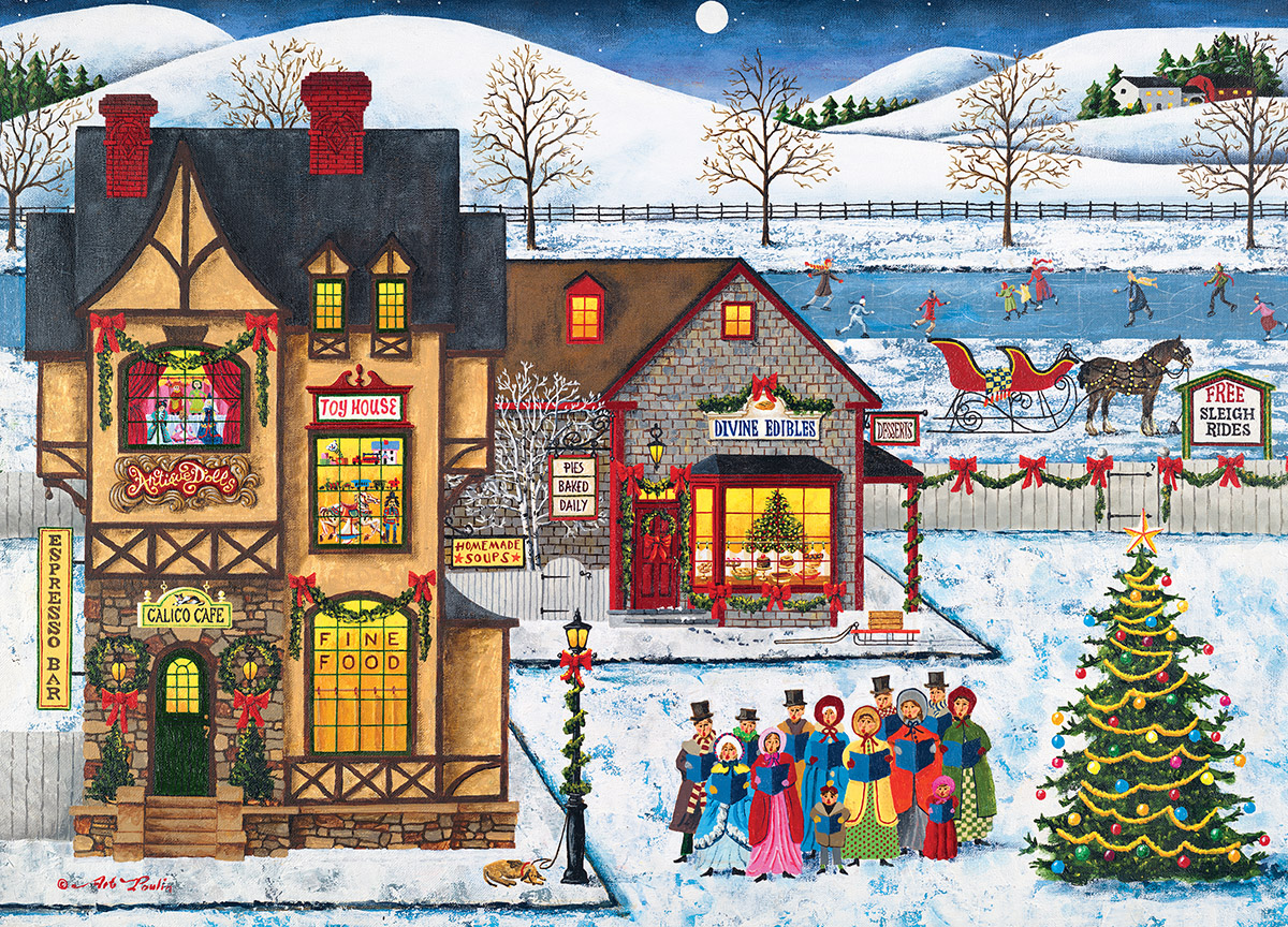 Main Street Carolers Winter Jigsaw Puzzle