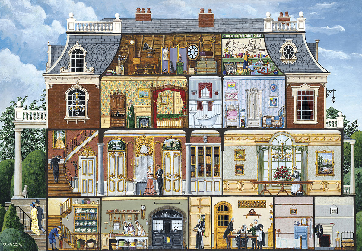 Upstairs, Downstairs Americana & Folk Art Jigsaw Puzzle