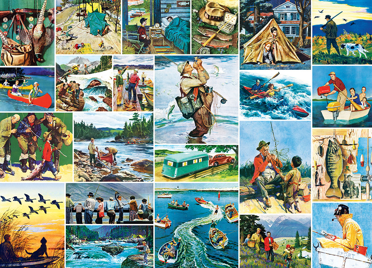 Outdoors Collage (Saturday Evening Post) Nostalgic / Retro Jigsaw Puzzle