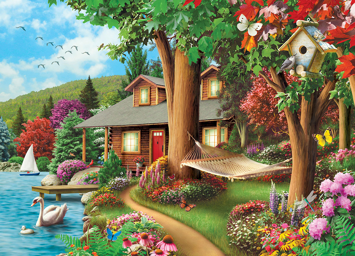 Around the Lake (Time Away) - Scratch and Dent Cottage / Cabin Jigsaw Puzzle