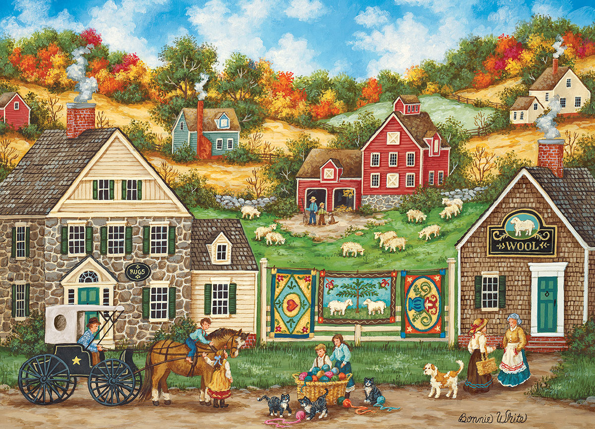 Great Balls of Yarn (Hometown Gallery) Countryside Jigsaw Puzzle
