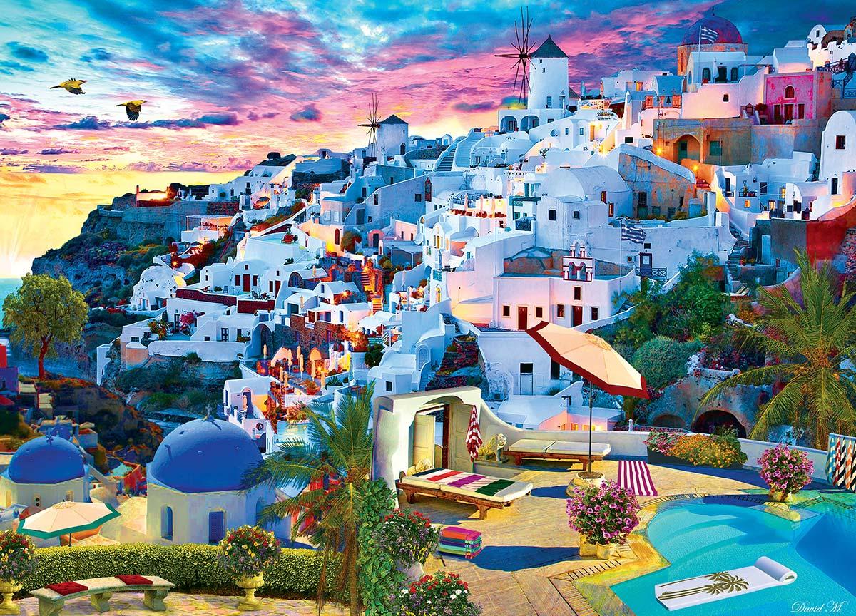 Santorini Sky Skyline / Cityscape Jigsaw Puzzle