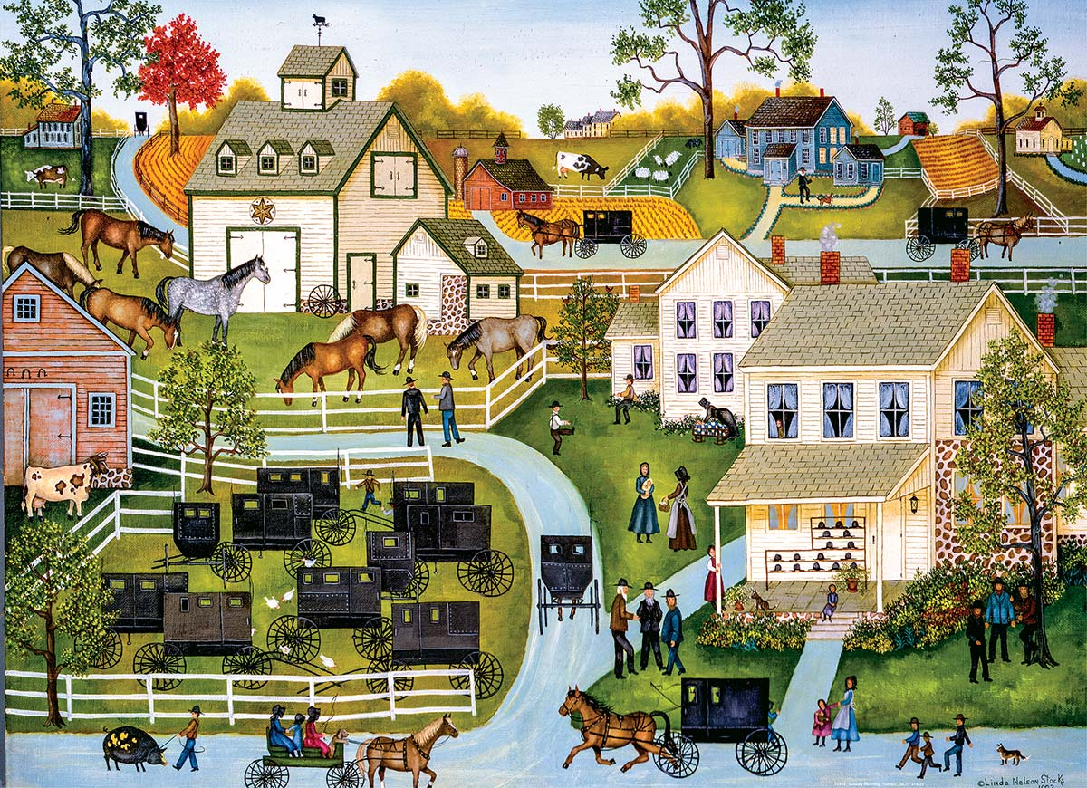 Sunday Meeting Americana & Folk Art Jigsaw Puzzle
