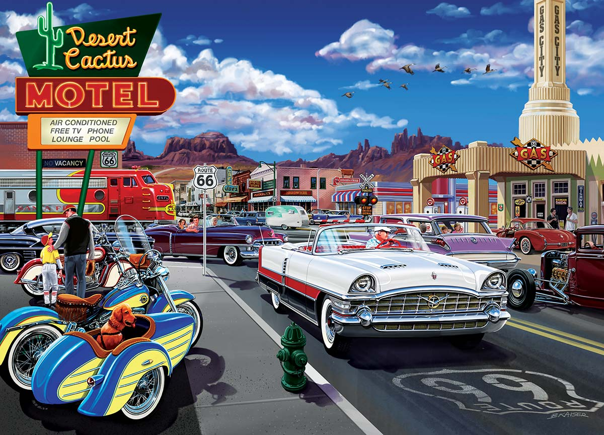 Drive Through on Rte. 66 Motorcycles Jigsaw Puzzle