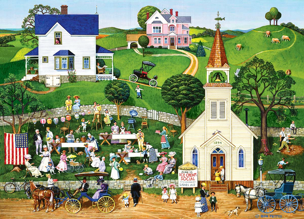 Strawberry Sunday Americana & Folk Art Jigsaw Puzzle