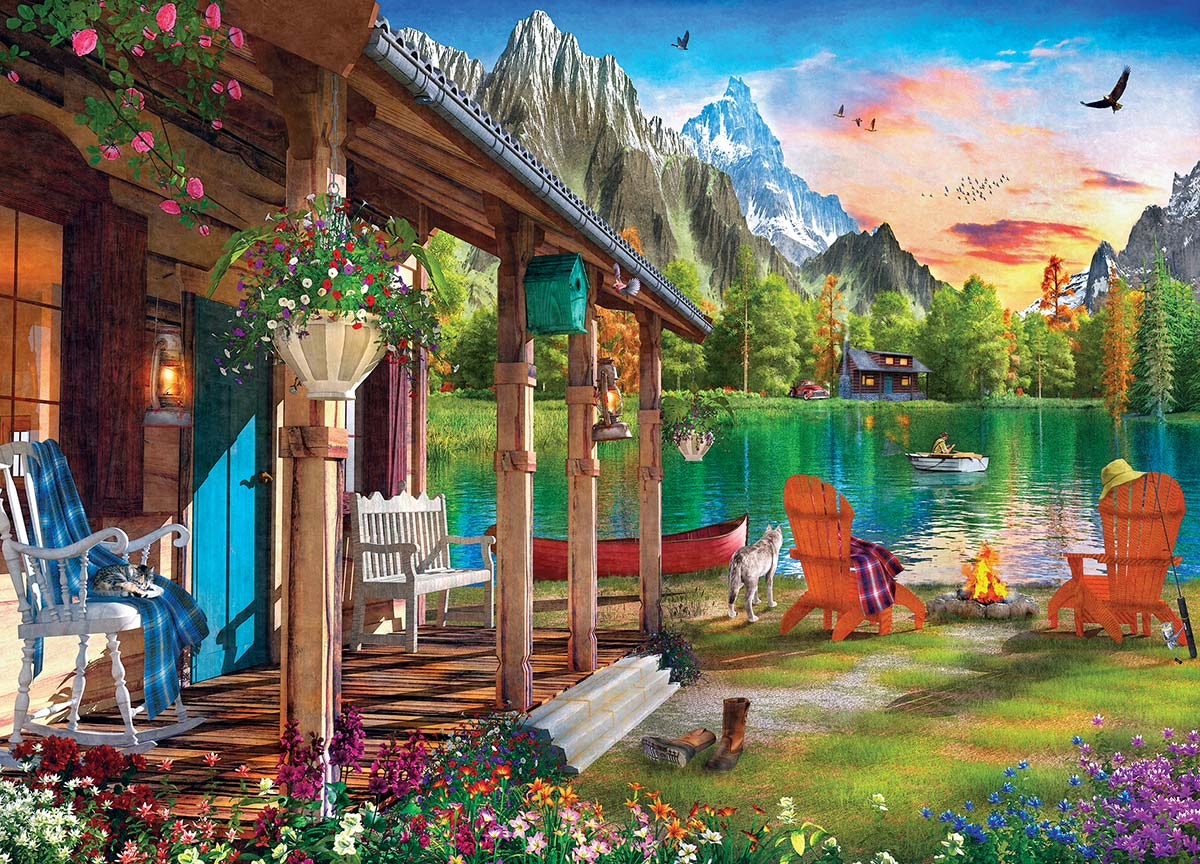Evening on the Lake Mountains Jigsaw Puzzle